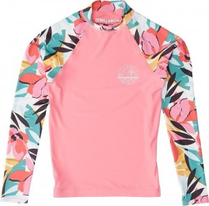 Lycra BILLABONG Girls' Flower Long Sleeve Rashguard PINK 2019
